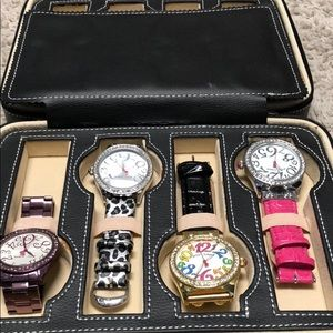4 Betsey Johnson Watched with Travel Case